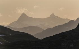 Обои горы, долина, горный хребет, Oppland Fylke, Bygdin