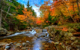 Картинка каскад, камни, река, небо, поток, лес, пороги