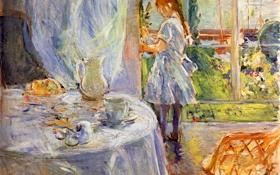 Обои berthe morisot, картина, interior of cottage