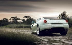 Картинка закат, Ferrari, дорога