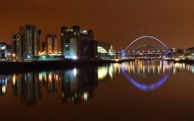 Обои мост, огни, отражение, река, Англия, здания, освещение