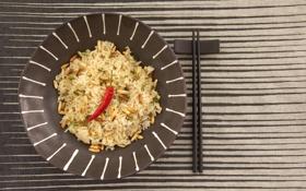 Картинка стол, палочки, тарелка, рис, перчик