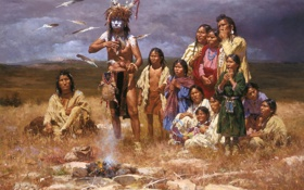Картинка картина, живопись, painting, The Shaman and His Magic Feathers, Arizona Resident Howard Terpning®