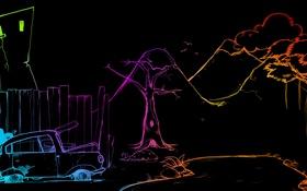 Обои цвета, абстракция, темный фон, рисунок, фигура, силуэт, colours