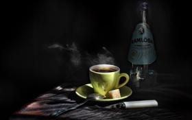Картинка бутылка, кофе, зажигалка, ложка, сахар