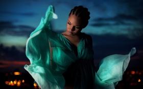 Картинка огни, вечер, платье, шоколадка, африканка