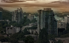 Картинка город, самолет, апокалипсис, вечер