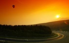 Обои закат, гонка, трасса