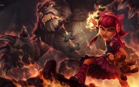 Обои магия, медведь, арт, девочка, уши, League of Legends, Michal Ivan