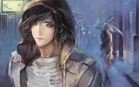 Картинка девушка, дождь, улица, зонт, арт, капюшон, парень