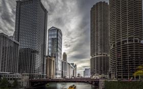 Обои Река, Чикаго, Небоскребы, Здания, Америка, Иллинойс, Chicago