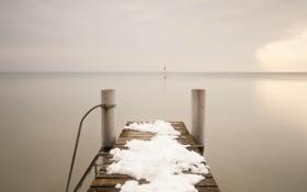 Картинка зима, пейзаж, мост, озеро