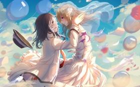 Картинка небо, облака, шарики, девушки, шляпа, аниме, перья