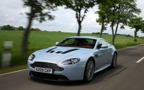 Картинка машина, деревья, Aston Martin, скорость, Vantage, V12