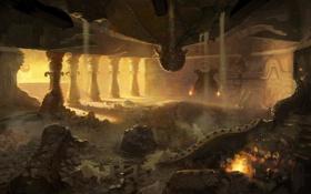 Обои колонны, руины, зала, огонь, дворец, обломки