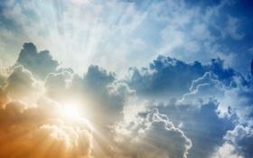 Обои небо, облака, лучи