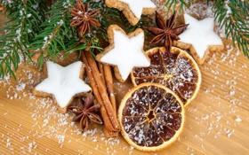 Картинка ель, апельсины, ветка, печенье, корица, звездочки, десерт
