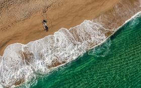 Обои песок, пляж, лето, океан, человек