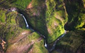 Картинка пейзаж, горы, природа, река, водопад, hawaii, kauai