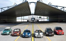 Обои Самолет, Ангар, Mini Cooper, Много, MINI, Мини Купер