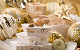 Обои зима, игрушки, Новый Год, тарелка, Рождество, сладости, орехи