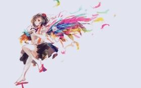Картинка девушка, крылья, аниме, перья, арт, touhou, shameimaru aya