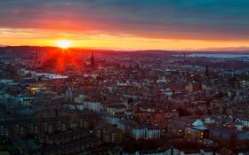 Картинка закат, город, вид, здания, вечер, Шотландия, панорама