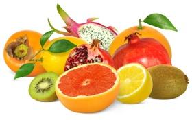 Обои лимон, киви, фрукты, грейпфрут, гранат, айва, питахайя