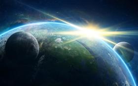 Обои солнце, космос, земля, планеты, планета, галактика