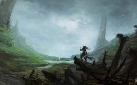 Обои река, фантастика, человек, меч, долина, арт, руины