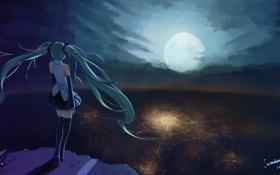 Картинка девушка, город, огни, луна, аниме, арт, vocaloid