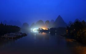 Обои Горы, река, ночь, огни