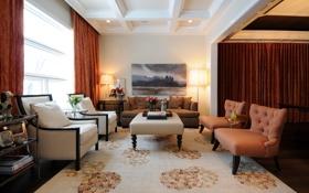 Обои лампы, комната, диван, окно, столик, гостиная, room