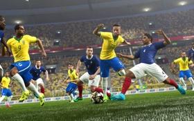 Обои Франция, Бразилия, France, Brasil, Neymar, Pro Evolution Soccer, Lucas