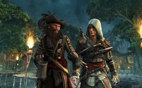 Обои Assassin's Creed IV, пират, Эдвард Кенуэй, Черная борода, Black Flag, ассасин