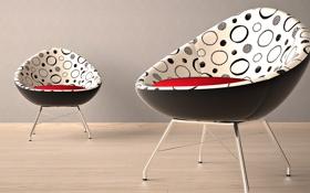 Обои красный, дизайн, стиль, комната, интерьер, кресло, форма
