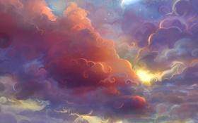 Картинка небо, облака, закат, луна, завитки, арт