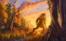 Картинка закат, лес, осень, арт, фэнтези, великан, сказка