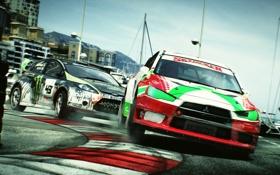 Картинка трасса, поворот, game, ford, mitsubishi, rally, dirt 3