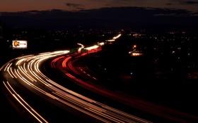 Обои автострада, город, сумерки, небо, огни