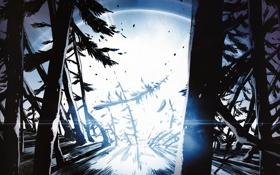 Картинка яркий свет, деревья, текстура, синий, чорный