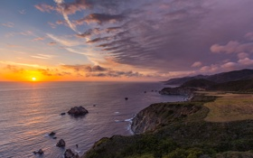 Обои облака, берег, небо, солнце, океан, вечер, море