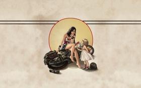 Обои девушка, фон, мотоцикл, Wonder Woman, комиксы