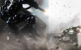 Обои фантастика, роботы, бой, арт, выстрелы, Sci Fi
