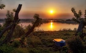 Картинка закат, река, лодка