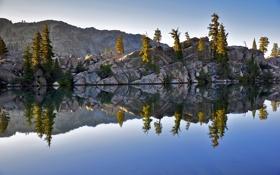 Картинка облака, река, скалы, небо, Yosemite, озеро, деревья