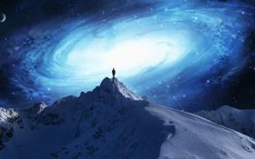 Картинка снег, фантастика, человек, гора, галактика