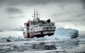 Обои корабль, льды, арктика
