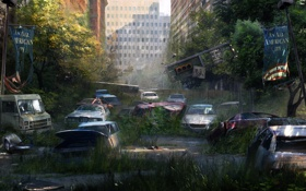 Картинка деревья, машины, город, стена, улица, апокалипсис, здания
