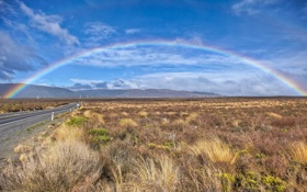 Обои дорога, трава, пейзаж, природа, холмы, радуга, новая